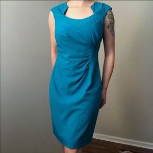 Calvin Klein Turquoise Blue Ruched Dress Size 10